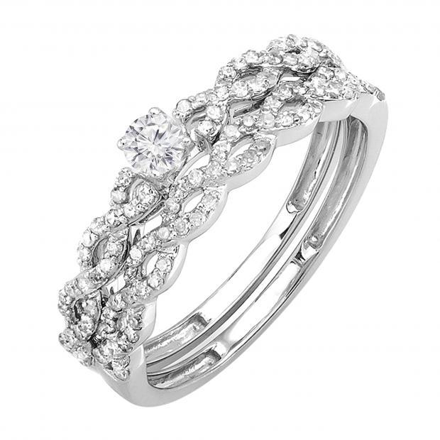 0.50 carat (ctw) 14k White Gold Round Cut Diamond Ladies Bridal Engagement Ring Matching Wedding Set 1/2 CT