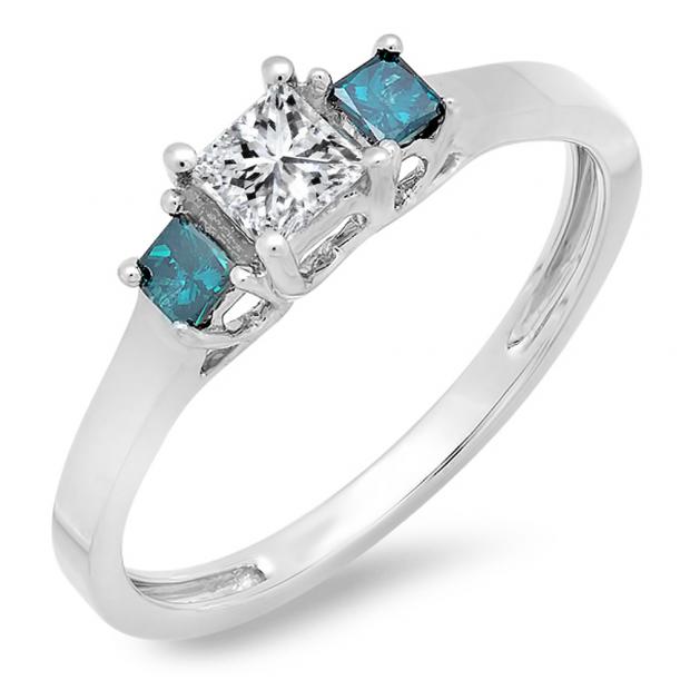 0.45 Carat (ctw) 10K White Gold Princess Blue & White Diamond Ladies Bridal 3 Stone Engagement Ring 1/2 CT