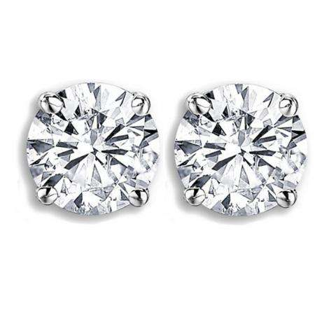 IGI Certified 0.98 Carat (ctw) 14K White Gold Round Cut White Diamond Ladies Stud Earrings 1 CT