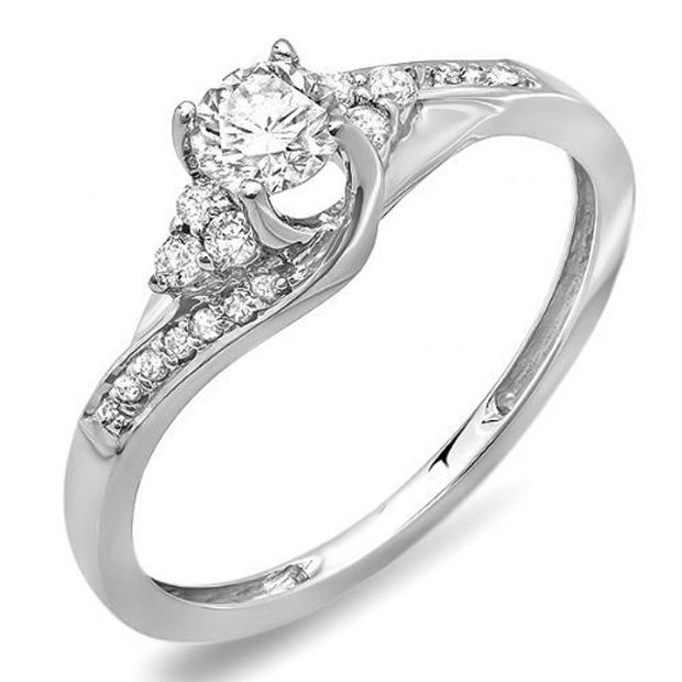 0.38 Carat (ctw) 10k White Gold Round Diamond Ladies Swirl Bridal Engagement Ring 3/8 CT