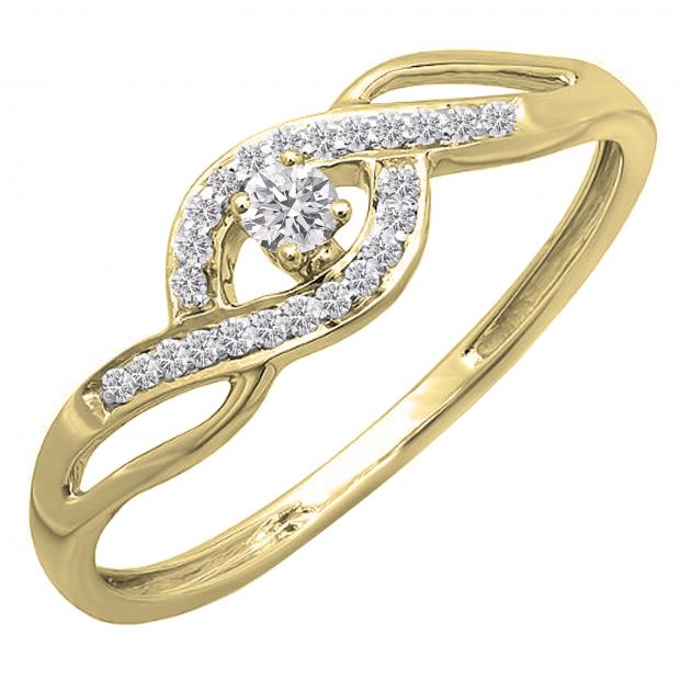0.15 Carat (ctw) 10k Yellow Gold Round Cut Diamond Ladies Criss Cross Engagement Bridal Promise Ring