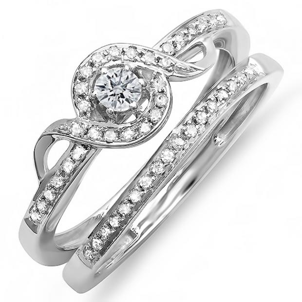 0.25 Carat (ctw) 10K White Gold Round Diamond Ladies Bridal Promise Ring Set Matching Band 1/4 CT