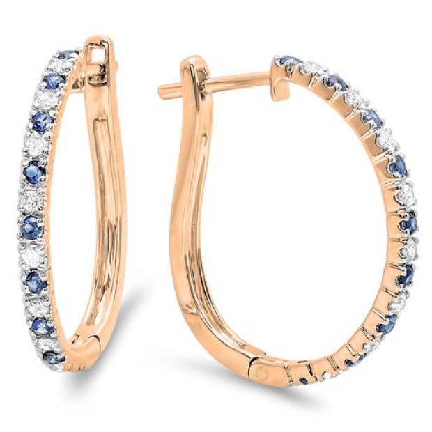0.50 Carat (ctw) 18k Rose Gold Round Blue Sapphire and White Diamond Ladies Hoop Earrings 1/2 CT