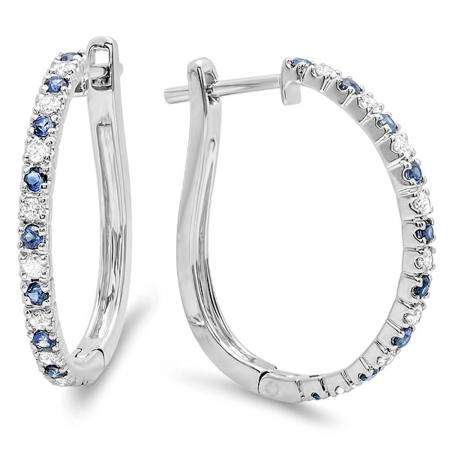 0.50 Carat (ctw) 18k White Gold Round Blue Sapphire and White Diamond Ladies Hoop Earrings 1/2 CT