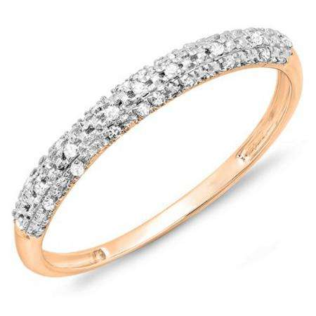 0.10 Carat (ctw) 10k Rose Gold Round Diamond Ladies Anniversary Wedding Band Stackable Ring 1/10 CT