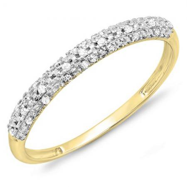 0.10 Carat (ctw) 14k Yellow Gold Round Diamond Ladies Anniversary Wedding Band Stackable Ring 1/10 CT