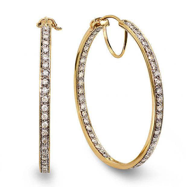 2.00 Carat (ctw) 14k Yellow Gold Round Diamond Ladies Hoop Earrings 2 CT