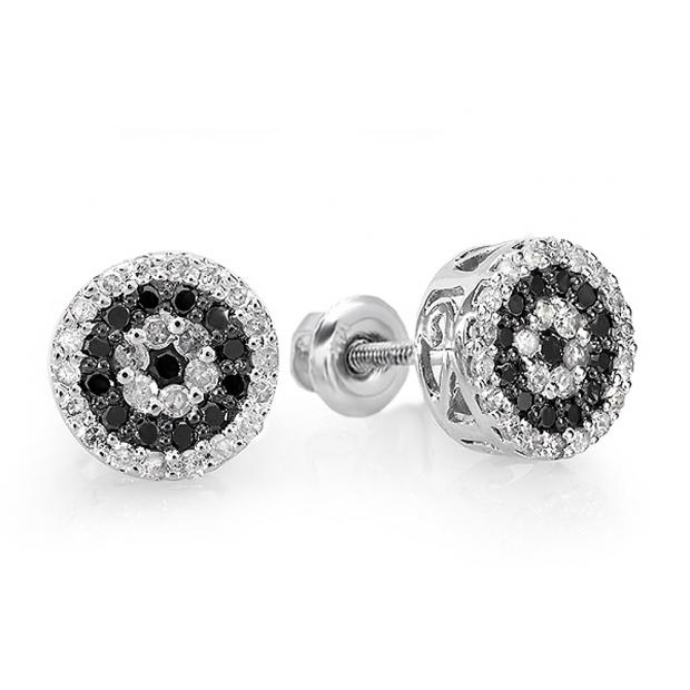 0.50 Carat (ctw) 14k White Gold Round Cut Black & White Diamond Ladies Cluster Stud Earrings 1/2 CT