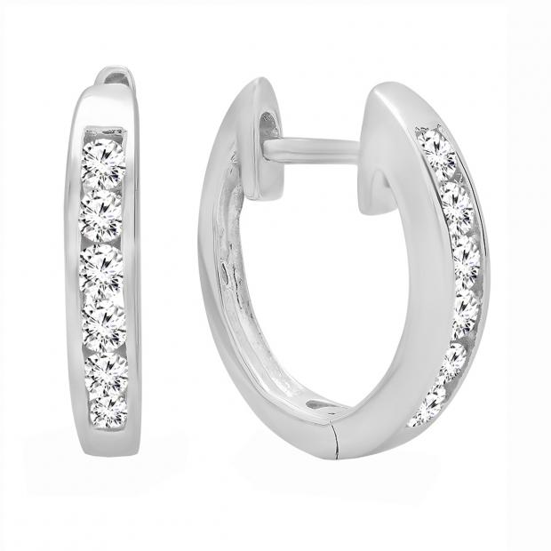 0.36 Carat (ctw) 18k White Gold Round Diamond Ladies Hoop Earrings 1/3 CT