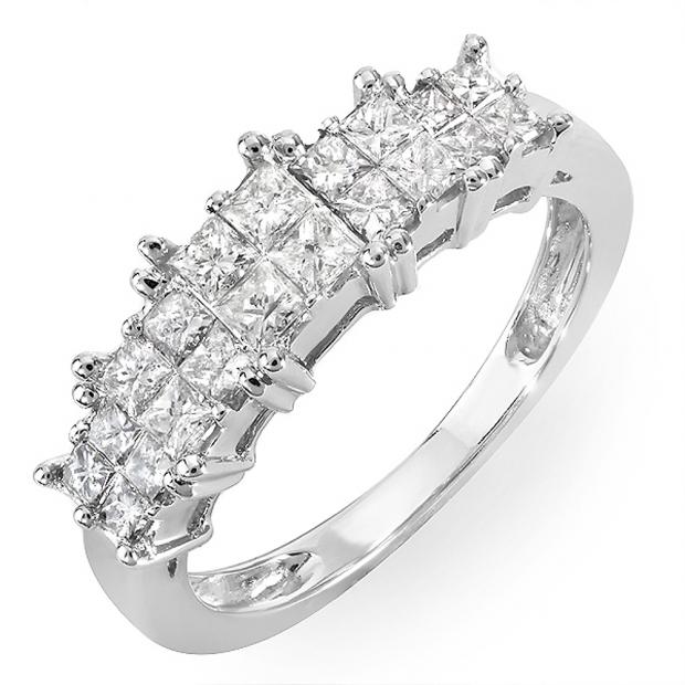 0.70 Carat (ctw) 14k White Gold Princess Diamond Ladies Bridal Engagement Ring 3/4 CT