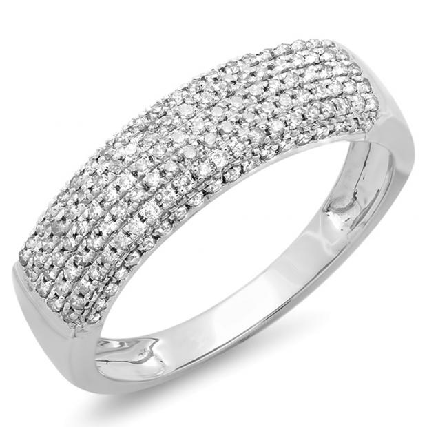 0.40 Carat (ctw) 14k White Gold Round Diamond Ladies Anniversary Wedding Band Ring