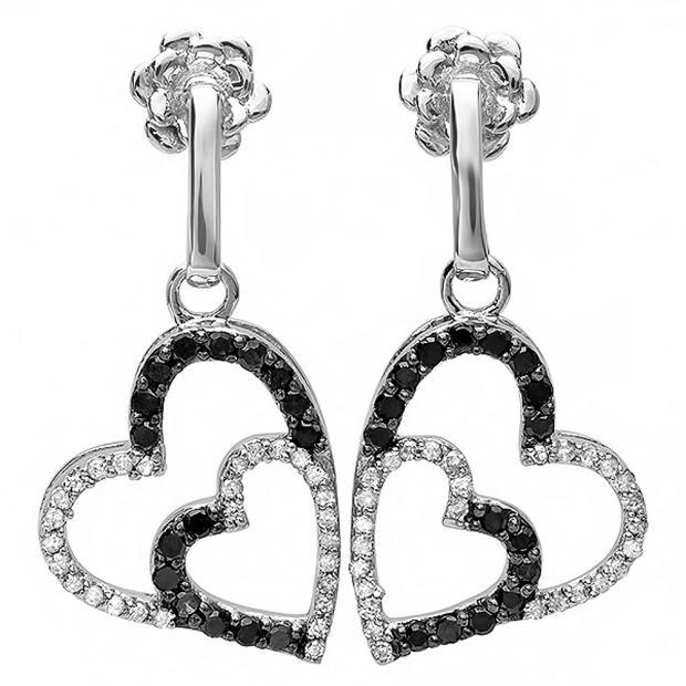 0.60 Carat (ctw) 10k White Gold Round Black & White Diamond Ladies Double Heart Dangling Earrings