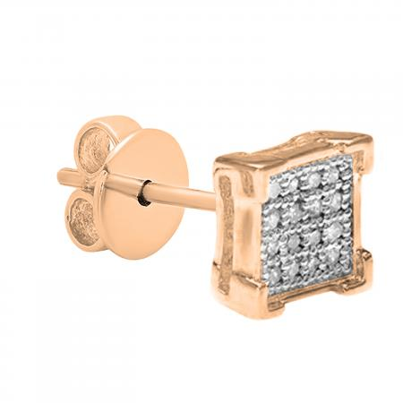 0.03 Carat (ctw) Round White Diamond V Prong Square Shape Mens Hip Hop Iced Stud Earring (Only 1Pc), 10K Rose Gold