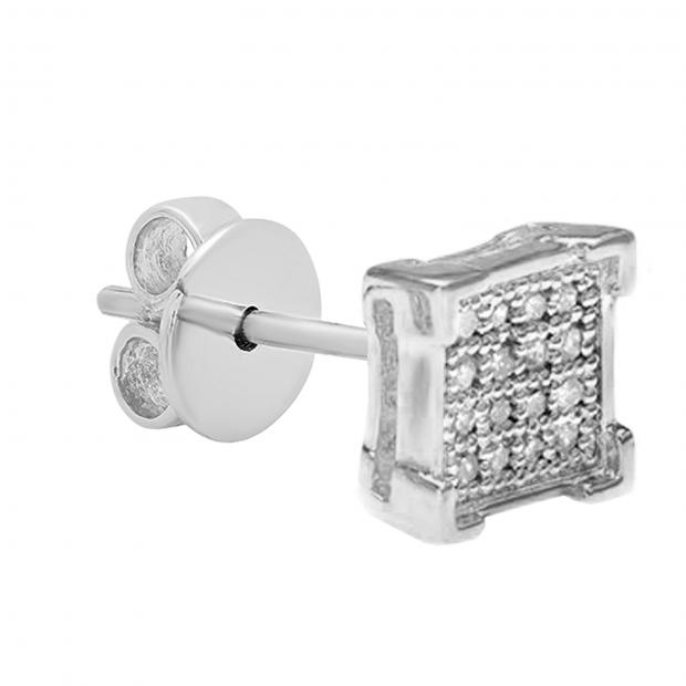 0.03 Carat (ctw) Round White Diamond V Prong Square Shape Mens Hip Hop Iced Stud Earring (Only 1Pc), 10K White Gold