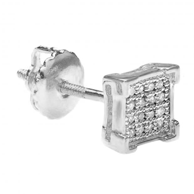 0.03 Carat (ctw) Round White Diamond V Prong Square Shape Mens Hip Hop Iced Stud Earring (Only 1Pc), 18K White Gold