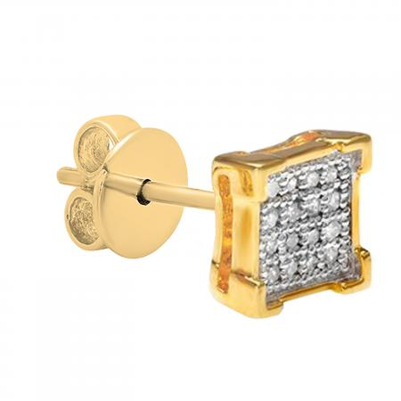 0.03 Carat (ctw) Round White Diamond V Prong Square Shape Mens Hip Hop Iced Stud Earring (Only 1Pc), 18K Yellow Gold