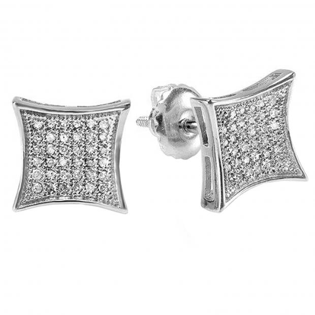 0.15 Carat (ctw) Platinum Plated Sterling Silver White Real Diamond Kite Shape Men