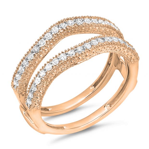 0.45 Carat (ctw) 10K Rose Gold Round Diamond Ladies Anniversary Wedding Band Millgrain Guard Double Ring 1/2 CT