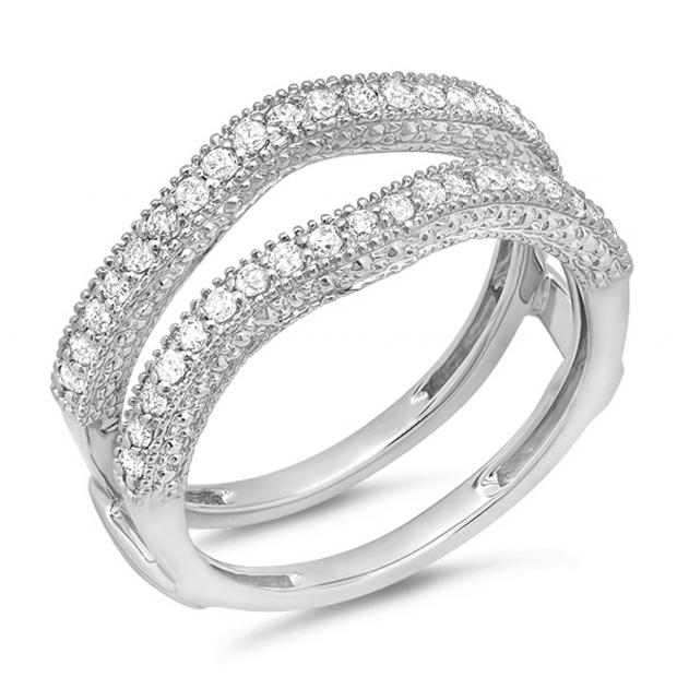 0.45 Carat (ctw) 18K White Gold Round Diamond Ladies Anniversary Wedding Band Millgrain Guard Double Ring 1/2 CT