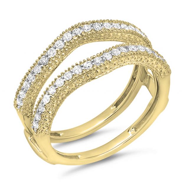 0.45 Carat (ctw) 18K Yellow Gold Round Diamond Ladies Anniversary Wedding Band Millgrain Guard Double Ring 1/2 CT