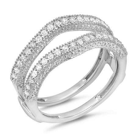 0.45 Carat (ctw) 14k White Gold Round Diamond Ladies Anniversary Wedding Band Millgrain Guard Double Ring 1/2 CT