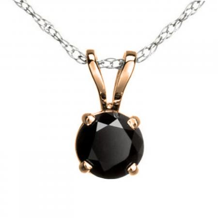 1.15 Carat (ctw) Round Black Diamond Ladies Solitaire Pendant, 10K Rose Gold With Silver Chain