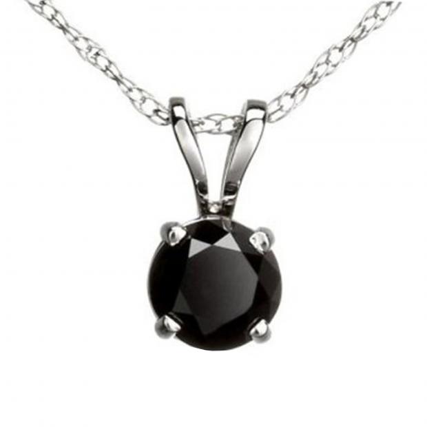 1.15 Carat (ctw) Round Black Diamond Ladies Solitaire Pendant, 10K White Gold With Silver Chain