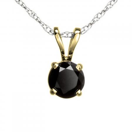 0.25 Carat (ctw) Round Black Diamond Ladies Solitaire Pendant 1/4 CT, 10K Yellow Gold With Silver Chain