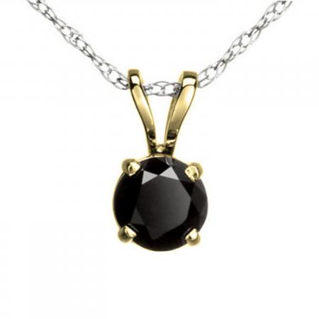 0.50 Carat (ctw) Round Black Diamond Ladies Solitaire Pendant 1/2 CT, 10K Yellow Gold With Silver Chain