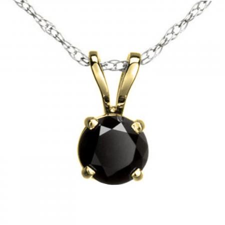 1.15 Carat (ctw) Round Black Diamond Ladies Solitaire Pendant, 10K Yellow Gold With Silver Chain