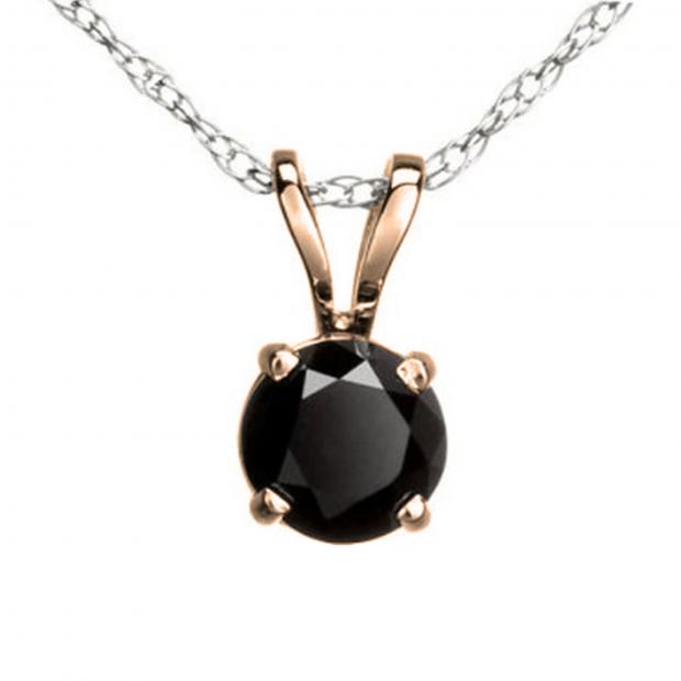 0.75 Carat (ctw) Round Black Diamond Ladies Solitaire Pendant 3/4 CT, 14K Rose Gold With Silver Chain