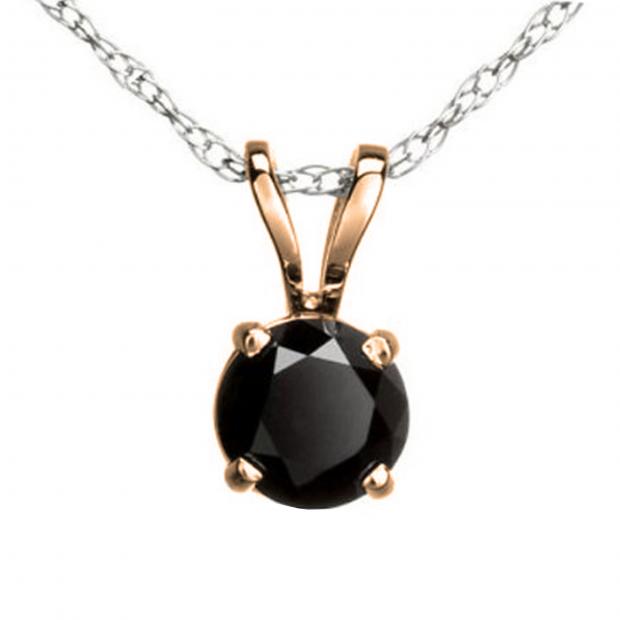1.15 Carat (ctw) Round Black Diamond Ladies Solitaire Pendant, 14K Rose Gold With Silver Chain