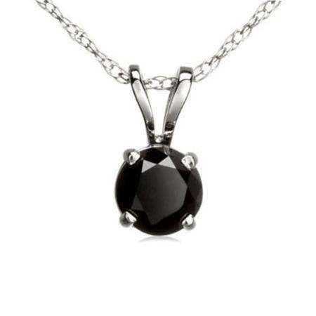 0.25 Carat (ctw) 14K White Gold Round Black Diamond Ladies Solitaire Pendant 1/4 CT