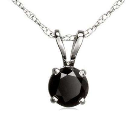 0.50 Carat (ctw) 14K White Gold Round Black Diamond Ladies Solitaire Pendant 1/2 CT