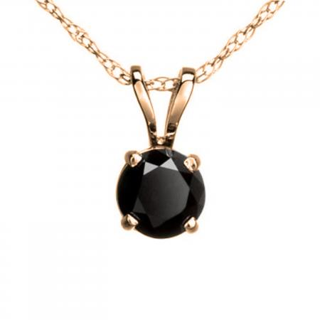 0.25 Carat (ctw) Round Black Diamond Ladies Solitaire Pendant 1/4 CT, 10K Rose Gold With Gold Chain