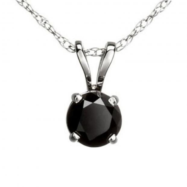 0.50 Carat (ctw) Round Black Diamond Ladies Solitaire Pendant 1/2 CT, 10K White Gold With Gold Chain