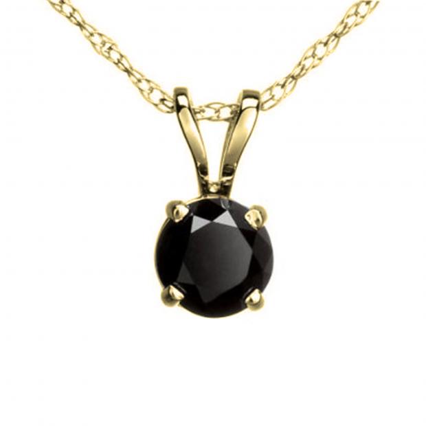 0.25 Carat (ctw) Round Black Diamond Ladies Solitaire Pendant 1/4 CT, 10K Yellow Gold With Gold Chain
