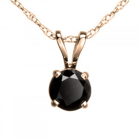0.75 Carat (ctw) Round Black Diamond Ladies Solitaire Pendant 3/4 CT, 14K Rose Gold With Gold Chain