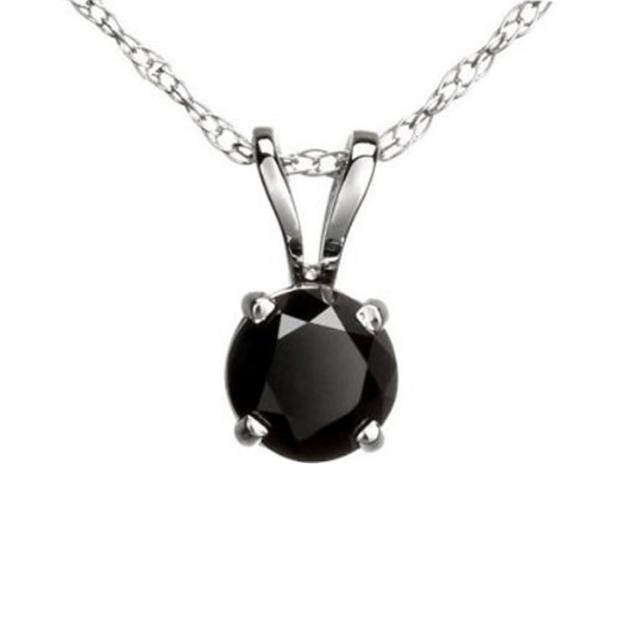 0.25 Carat (ctw) Round Black Diamond Ladies Solitaire Pendant 1/4 CT, 14K White Gold With Gold Chain