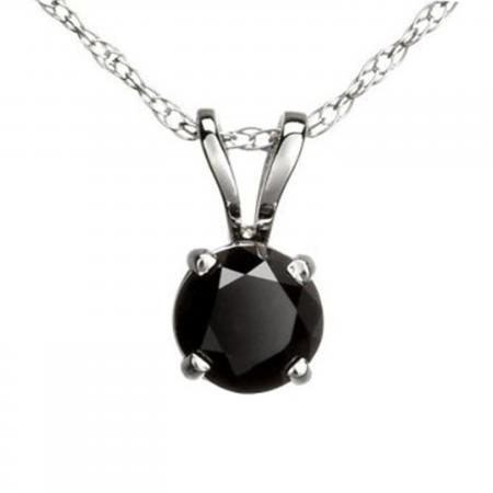 0.75 Carat (ctw) Round Black Diamond Ladies Solitaire Pendant 3/4 CT, 14K White Gold With Gold Chain