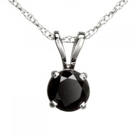 1.15 Carat (ctw) Round Black Diamond Ladies Solitaire Pendant, 14K White Gold With Gold Chain