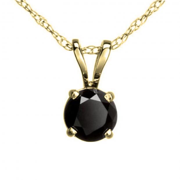 0.50 Carat (ctw) Round Black Diamond Ladies Solitaire Pendant 1/2 CT, 14K Yellow Gold With Gold Chain