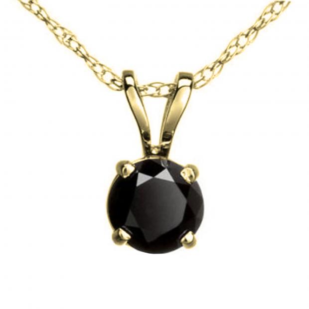 1.15 Carat (ctw) Round Black Diamond Ladies Solitaire Pendant, 14K Yellow Gold With Gold Chain
