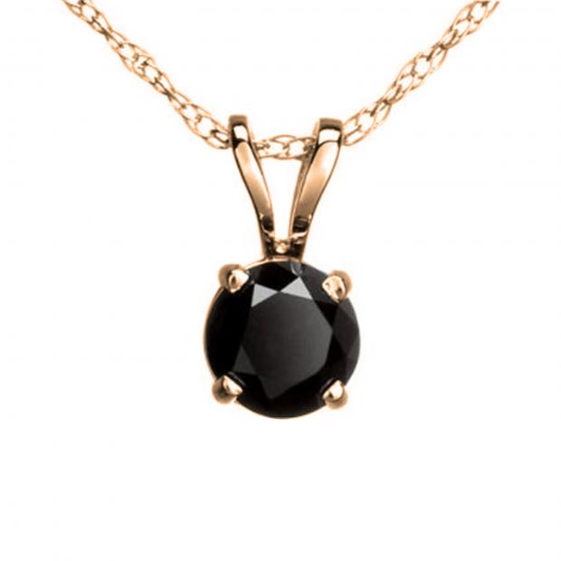 0.25 Carat (ctw) Round Black Diamond Ladies Solitaire Pendant 1/4 CT, 18K Rose Gold With Gold Chain
