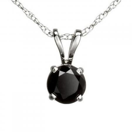 0.50 Carat (ctw) Round Black Diamond Ladies Solitaire Pendant 1/2 CT, 18K White Gold With Gold Chain