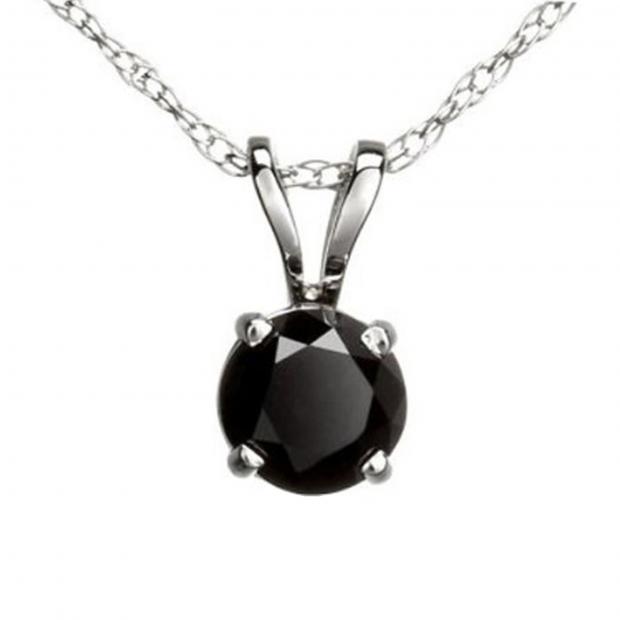0.75 Carat (ctw) Round Black Diamond Ladies Solitaire Pendant 3/4 CT, 18K White Gold With Gold Chain