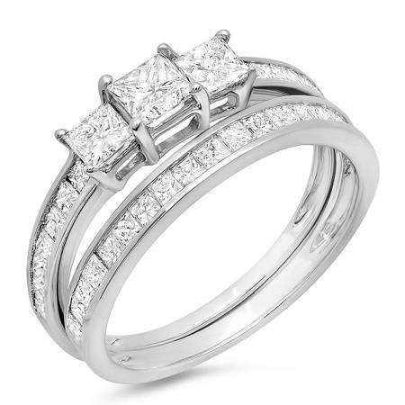 1.75 Carat (ctw) 14k White Gold Princess Diamond Ladies Bridal 3 Stone Engagement Ring Matching Wedding Band Set