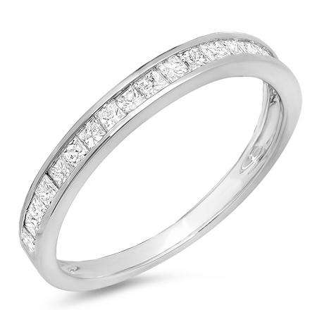 0.55 Carat (ctw) 18K White Gold Princess Diamond Ladies Wedding Matching Band Stackable Ring 1/2 CT