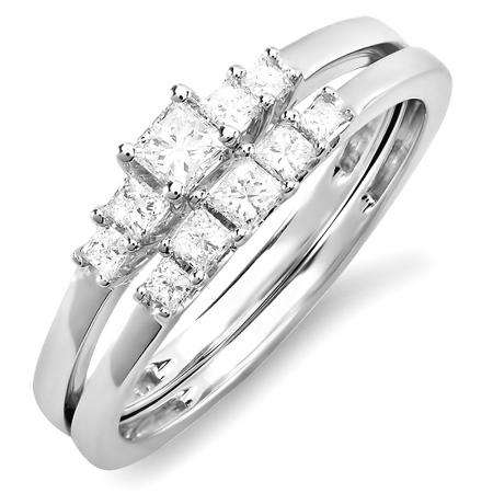 0.45 Carat (ctw) 14k White Gold Princess 5 Stone Diamond Ladies Bridal Engagement Ring Set Matching Band 1/2 CT