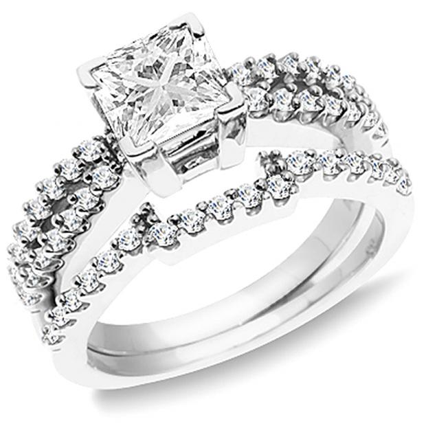 1.50 Carat (ctw) 14K White Gold Princess & Round White Diamond Ladies Split Shank Bridal Engagement Ring with Matching Wedding Band Set 1 1/2 CT